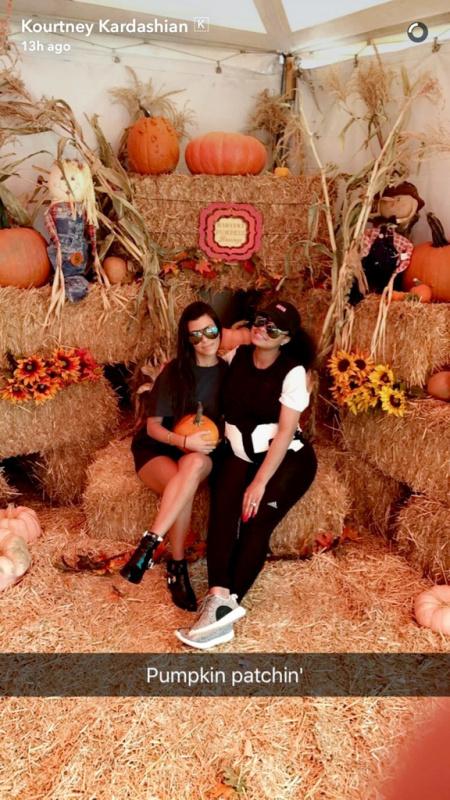 Screengrab of Kourtney Kardashian and Blac Chyna at a pumpkin patch together. Kourtney Kardashian and her children accompanied Blac, and her son King on Friday, October 14, 2016 10/15/16 Source: Kourtney Kardashian/Snapchat