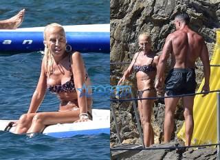 AKM-GSI Donatella Versace Portofino Italy male friend bikini beach