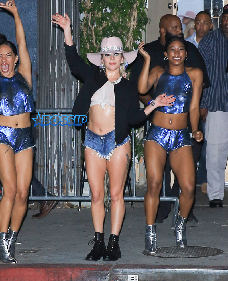 FameFlynetPictures Lady Gaga short shorts unicorn tattoo Bud Light Dive Bar tour