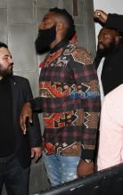 Basketball player James Harden Warwick nightclub jeans. Southwest shirt SplashNews 26 OCTOBER 2016