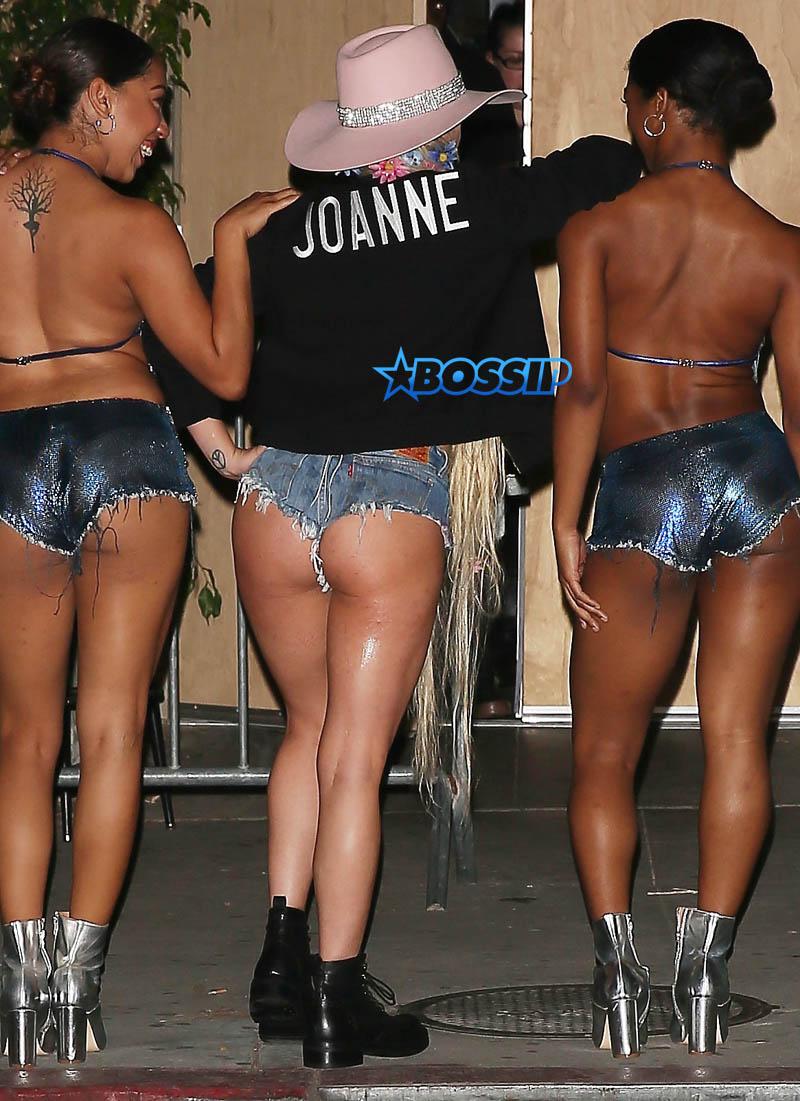 SPLASH NEWS DENIM HOT PANTS Lady Gaga short shorts unicorn tattoo Bud Light Dive Bar tour
