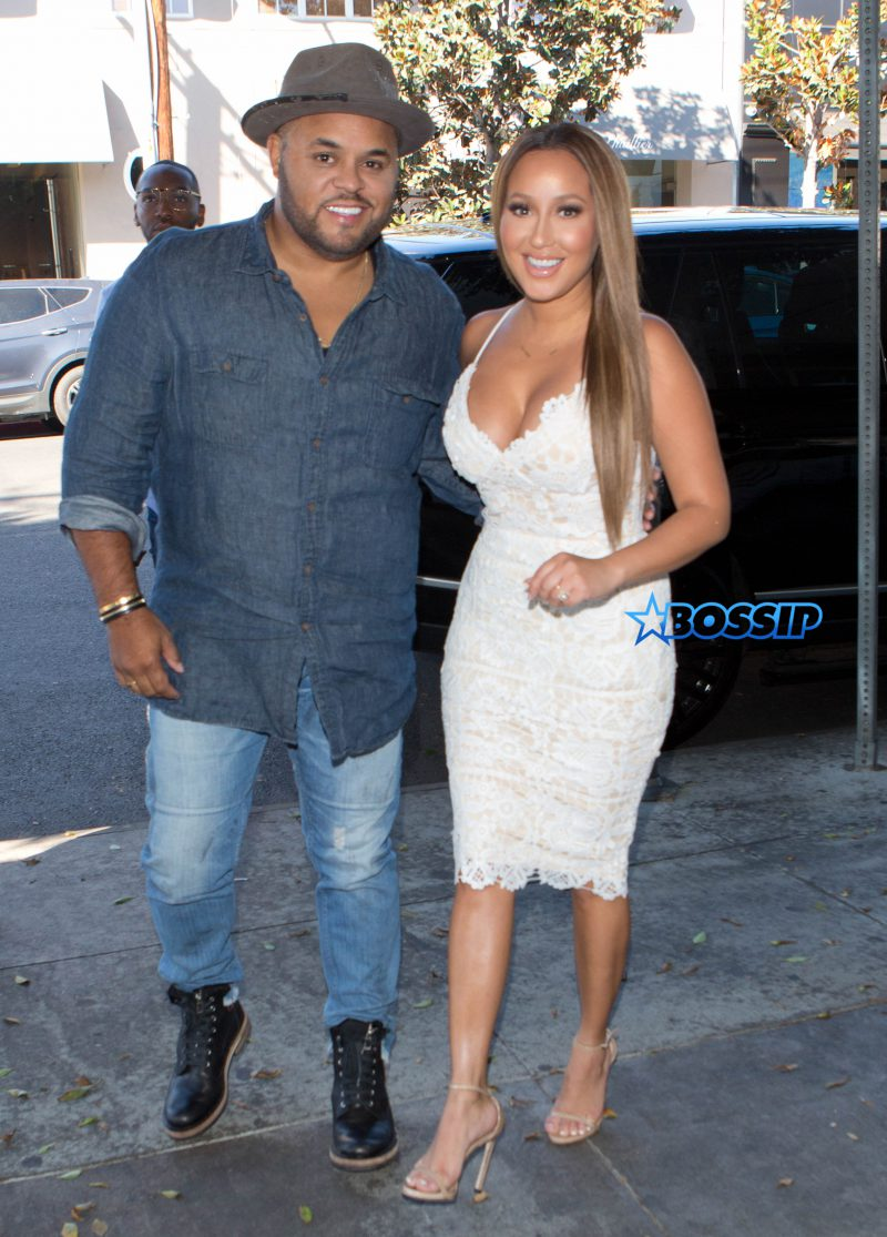 Adrienne Bailon and her Fiance Israel Houghton were seen arriving to celebrate their wedding shower with friends at 'The Fig & Olive' Restaurant in West Hollywood, CA