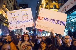 New Yorkers take to the street outside Trump Towers in Midtown