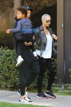 Amber Rose and Wiz Khalifa spend the morning as a family and take their son Sebastian to St Michael & All Angels Episcopal Church the day before Thanksgiving. AKM-GSI 23 NOVEMBER 2016