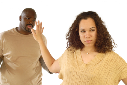 "Young woman fed up with the nonsense coming out of her boyfriend's mouth as he's trying to explain ""what happened"""