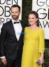 Benjamin Millapied Natalie Portman 74th Golden Globe Awards Red Carpet Beverly Hilton Hotel SplashNews