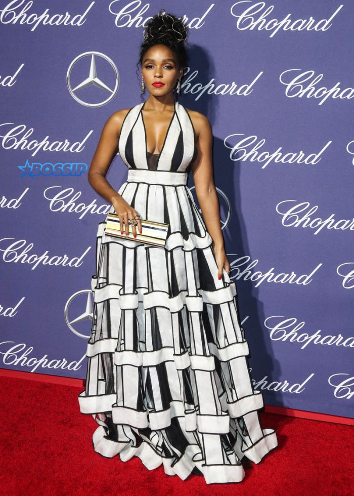 Actress Janelle Monae wearing a Jenny Peckham dress, Brian Atwood shoes, Jennifer Fisher and Swati jewlrey and carrying a Jimmy Choo clutch arrives at the 28th Annual Palm Springs International Film Festival Awards Gala held at the Palm Springs Convention Center on January 2, 2017 in Palm Springs, California, United States. (Photo by Xavier Collin/Image Press/Splash News)