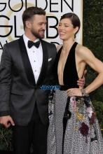 Justin Timberlake Jessica Biel 74th Golden Globe Awards Red Carpet Beverly Hilton Hotel SplashNews