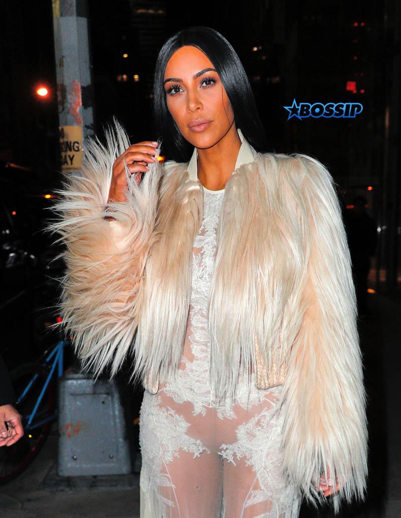 Kim Kardashian lace gown New York City fur Ocean's 8 taping Met Gala scene SplashNews