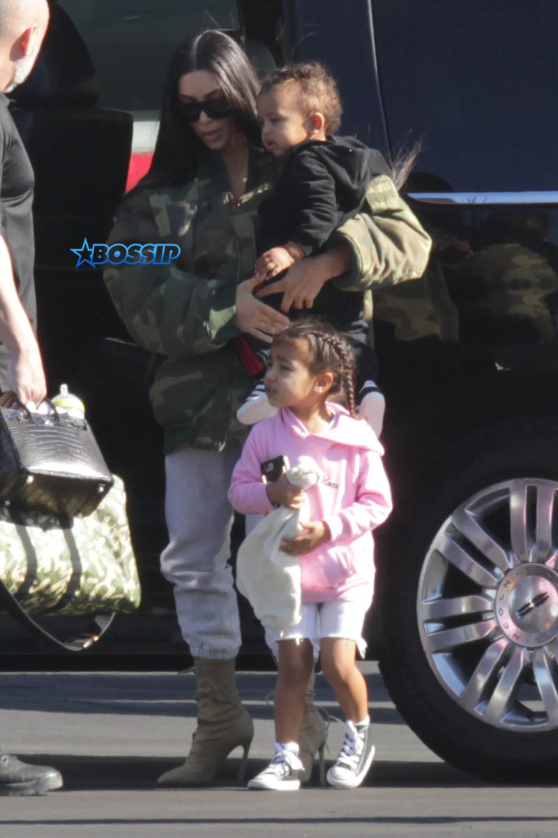 Kim Kardashian Saint North West Kris Jenner Kylie Jenner Kourtney Kardashian Corey Gamble King Tyga private jet family vacation SplashNews