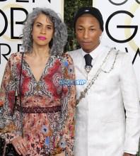 Mimi Valdes Pharrell Williams 74th Golden Globe Awards Red Carpet Beverly Hilton Hotel SplashNews
