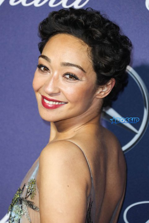 Ruth Negga wearing a Valentino dress and shoes arrives at the 28th Annual Pal