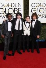 Caleb McLaughlin, Finn Wolfhard, Noah Schnapp, Gaten Matarazzo, Stranger Things kids cast 74th Golden Globe Awards Red Carpet Beverly Hilton Hotel SplashNews