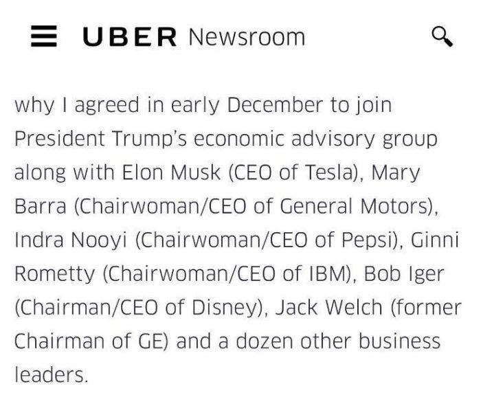 Uber donald trump