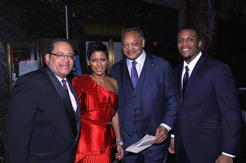 NEW YORK, NY - JANUARY 30: (L-R) Michael Eric Dyson, Tamron Hall, Jesse Jackson, and Teonte Miller attend the National CARES Mentoring Movements 2nd Annual 'For the Love of Our Children' Gala at Cipriani 42nd Street on January 30, 2017 in New York City. (Photo by Bennett Raglin/Getty Images for for National CARES Mentoring Movement)