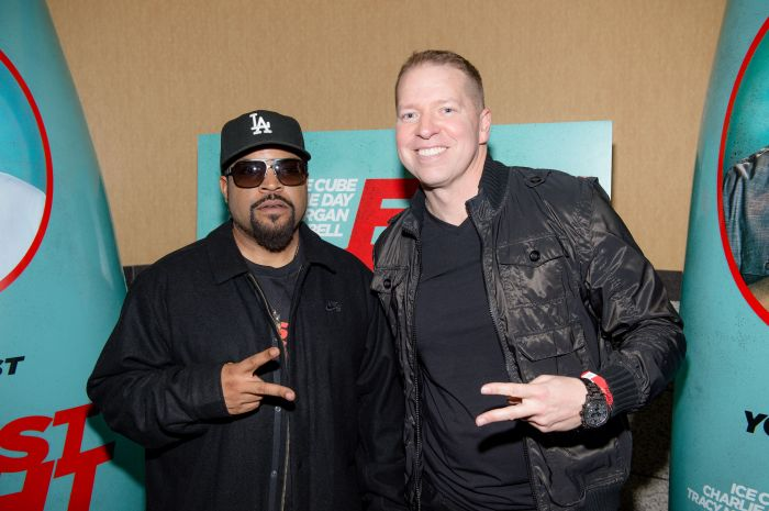 ATLANTA, GA - FEBRUARY 15: Actor Ice Cube and actor Gary Owen attend FIST FIGHT VIP screening at Regal Atlantic Station on February 15, 2017 in Atlanta, Georgia. (Photo by Marcus Ingram/Getty Images for Warner Bros.)