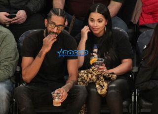 Nipsey Hussle and Lauren London seen out at the Lakers vs. Spurs game at the Staples Center in Los Angeles, California. SplashNews