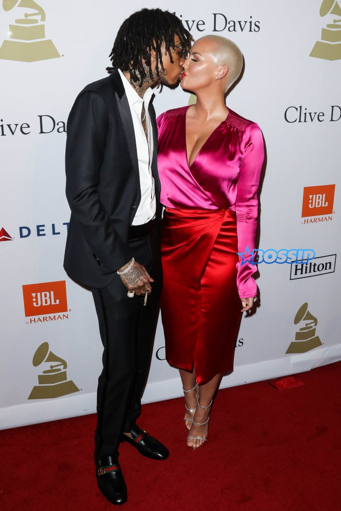 BEVERLY HILLS, LOS ANGELES, CA, USA - FEBRUARY 11: Amber Rose kisses ex Wiz Khalifa at the 2017 Pre-GRAMMY Gala and Salute to Industry Icons Honoring Debra Lee held at The Beverly Hilton Hotel on February 11, 2017 in Beverly Hills, Los Angeles, California, United States. (Photo by Xavier Collin/Image Press Agency/Splash News) Pictured: Wiz Khalifa, Amber Rose Ref: SPL1440576 110217 Picture by: Xavier Collin/IPA/Splash News Splash News and Pictures Los Angeles:310-821-2666 New York:212-619-2666 London:870-934-2666 photodesk@splashnews.com