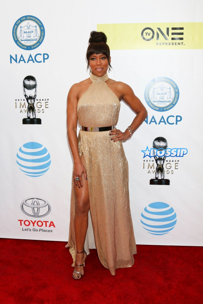 Celebrities arrive at the 48th NAACP Image Awards held at the Pasadena Civic Auditorium in Pasadena, California, USA. Pictured: Regina King Ref: SPL1440666 110217 Picture by: @ParisaMichelle / Splash News Splash News and Pictures Los Angeles:310-821-2666 New York:212-619-2666 London:870-934-2666 photodesk@splashnews.com