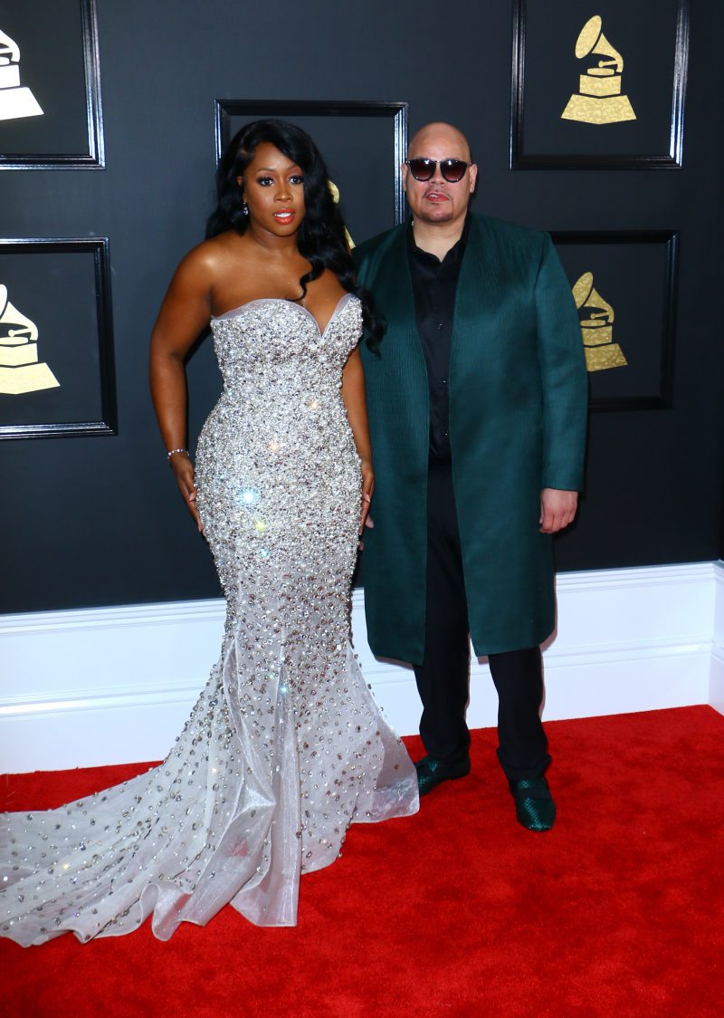 Celebrities arrive for the 59th Grammy Awards Red Carpet held at the Staples Center in Downtown LA. Pictured: Fat Joe and Remy Ma Ref: SPL1441474 120217 Picture by: ITM / Splash News Splash News and Pictures Los Angeles: 310-821-2666 New York: 212-619-2666 London: 870-934-2666 photodesk@splashnews.com