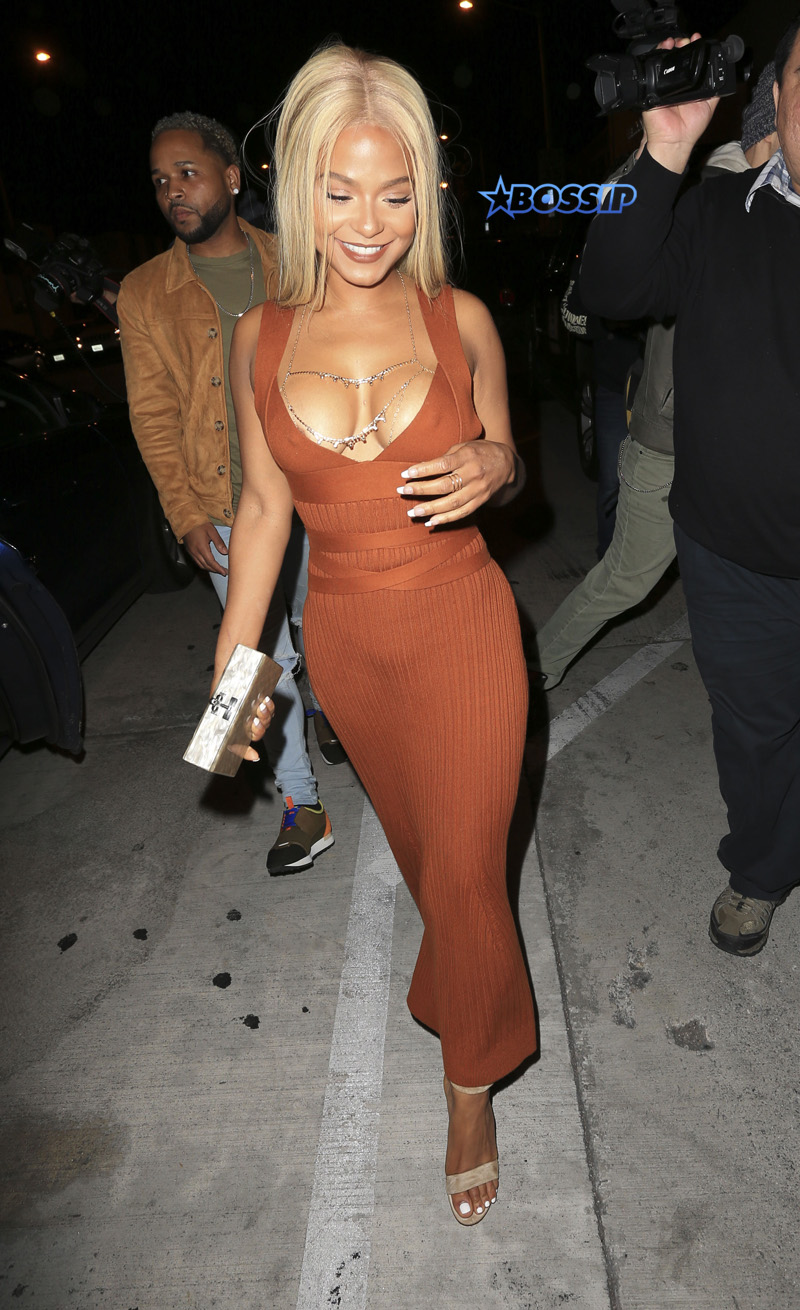 Christina Millian has new Blond bombshell look and reveals a little too much at Catch in West hollywood. SplashNews
