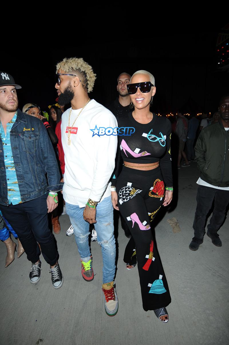 Amber Rose and Odell Beckham Jr. at Neon Carnival Coachella in Los Angeles, California. SplashNews