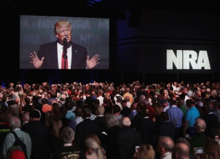 NRA-ILA's Leadership Forum at the 146th NRA Annual Meetings & Exhibits on April 28, 2017 in Atlanta, Georgia. President Donald Trump featured speakers at the event. (Photo by Scott Olson/Getty Images)