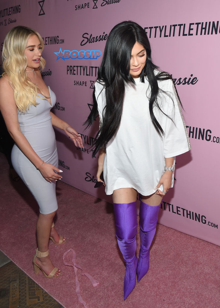 Stassie Karanikolaou and Kylie Jenner attend PrettyLittleThing Campaign Launch for PLT SHAPE with Brand Ambassador Anastasia Karanikolaou on April 11, 2017 in Los Angeles, California.  (Photo by Matt Winkelmeyer/Getty Images)