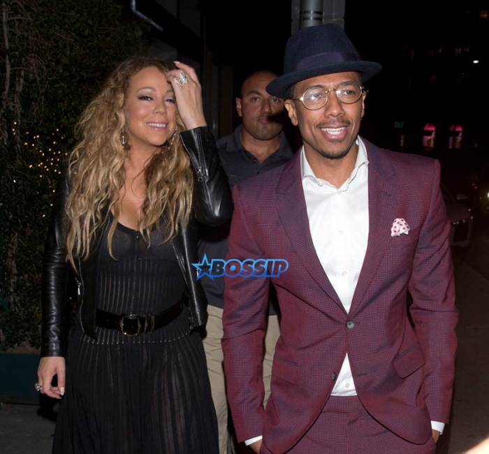 Mariah Carey Ex Husband Nick Cannon and their twin children for dinner at Mr. Chow Restaurant followed by frozen Yogurt at 'Pinkberry' in Beverly Hills, CA. Mariah wardrobe malfunction dress see-thru. Nick Maroon colored suit and a hat. SplashNews