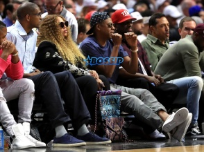 Beyonce and Jay Z attend Game Seven of the Western Conference Quarterfinals between the Los Angeles Clippers and the Utah Jazz at Staples Center at Staples Center on April 30, 2017 in Los Angeles, California. NOTE TO USER: User expressly acknowledges and agrees that, by downloading and or using this photograph, User is consenting to the terms and conditions of the Getty Images License Agreement. (Photo by Sean M. Haffey/Getty Images)
