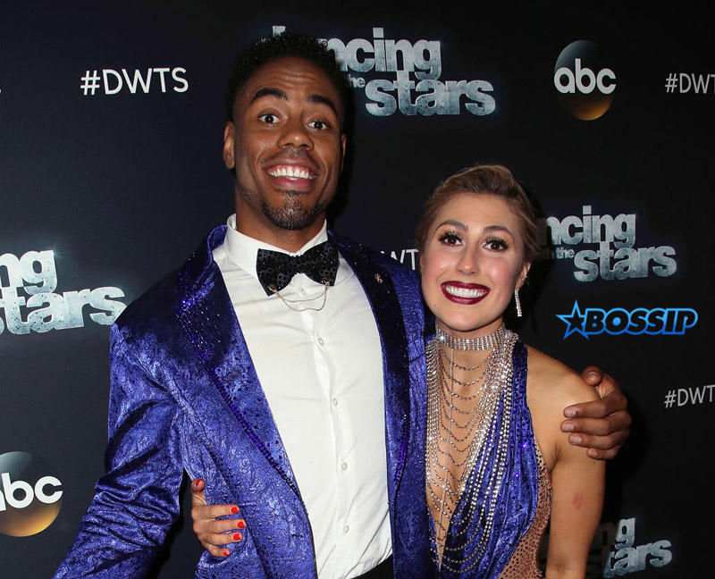 """LOS ANGELES, CA - MAY 15:  NFL player Rashad Jennings (L) and dancer Emma Slater attend """"Dancing with the Stars"""" Season 24 at CBS Televison City on May 15, 2017 in Los Angeles, California.  (Photo by David Livingston/Getty Images)"""