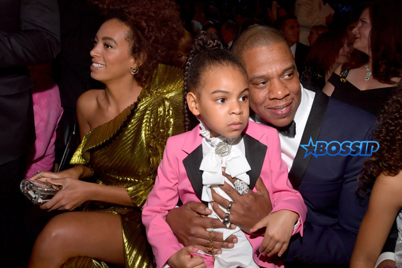 LOS ANGELES, CA - FEBRUARY 12: (L-R) Singer Solange Knowles, Blue Ivy Carter and Jay-Z during The 59th GRAMMY Awards at STAPLES Center on February 12, 2017 in Los Angeles, California.  (Photo by Lester Cohen/Getty Images for NARAS)