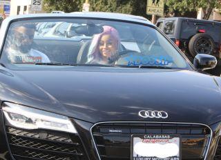 Blac Chyna and new friend drive black Audi all white dress rainbow wig SplashNews