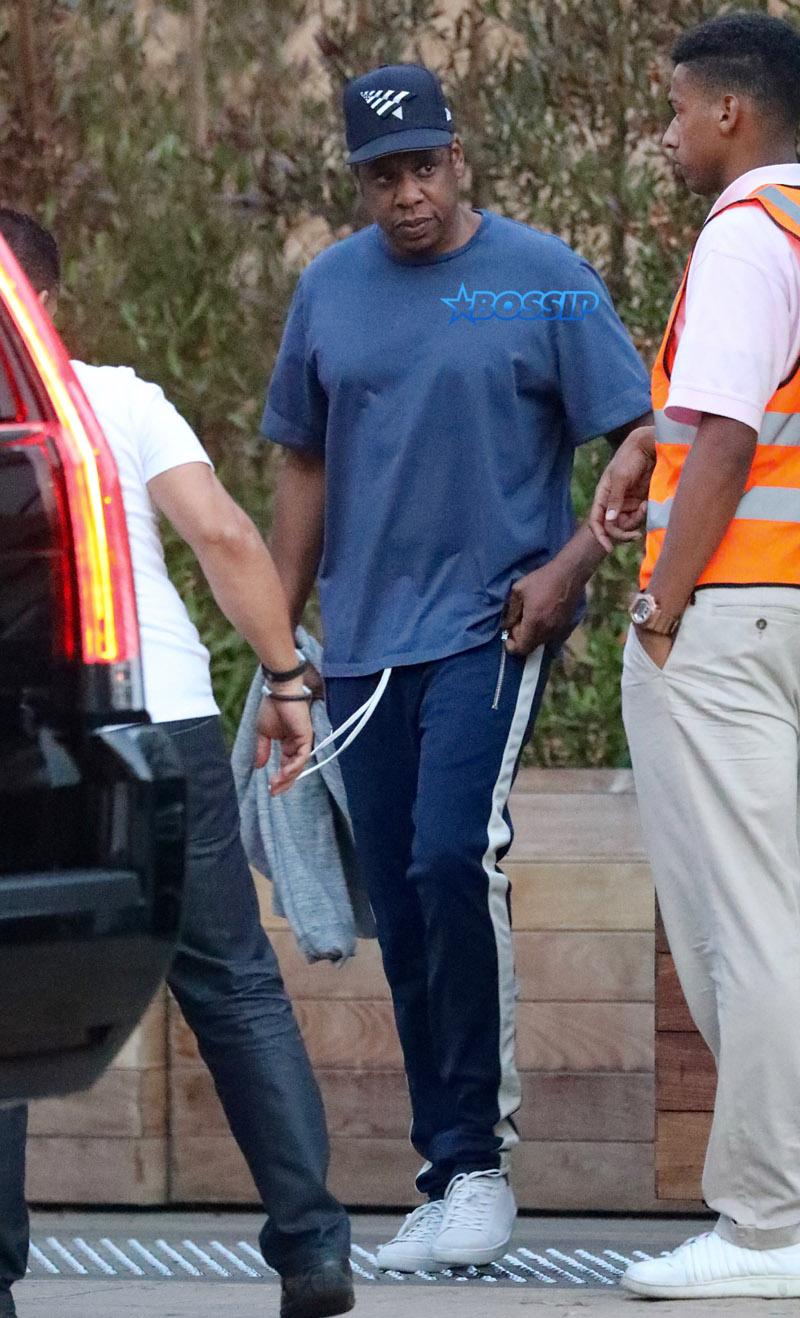 Jay Z is seen leaving the SoHo House in Malibu, CA. Jacson / Splash News