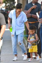 Kelly Rowland takes her son Titan to an event in Studio City Picture by: Fern / Splash News