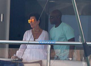 Kris Jenner Corey Gamble yacht in St Tropez port, CÙte d'Azur, Kris caught by the wind