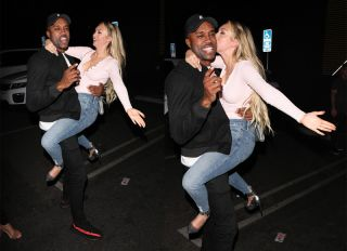 Bachelor in Paradise contestants Corinne Olympios and DeMario Jackson hug and share a passionate kiss with one another at the Nightingale club in West Hollywood. They arrived to the club at 11:30 P.M. They both came outside to say goodbye to each other. Corinne left with her friend while DeMario left by himself.