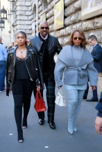TV personality Steve Harvey attends Hermes Spring/Summer 2017 Womenswear with his wife Marjorie Bridges-Woods and his daughter during Paris Fashion Week in Paris, France