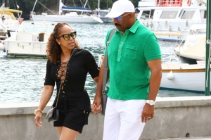 Steve Harvey and his wife marjorie arrive by boat to Portofino for focaccia and ice cream