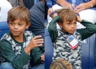 Tiger Woods and son Charlie Axel Woods watch the 2017 US Open Men's Championships at Arthur Ashe Stadium in Flushing, New York, USA.