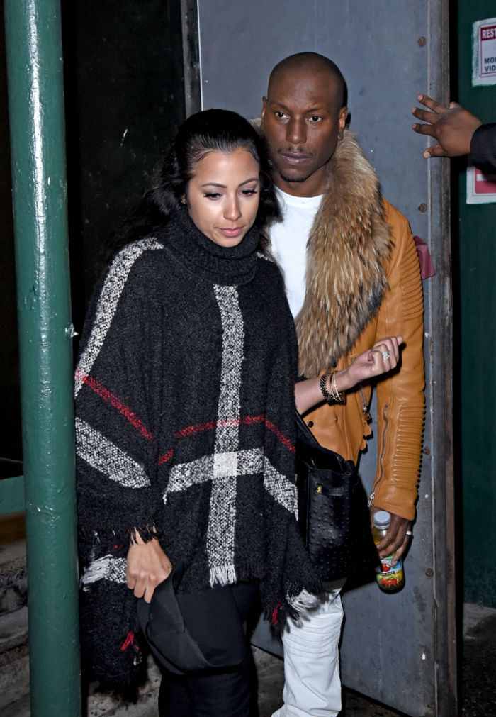"""Tyrese Gibson and wife Samantha Lee Gibson exit the AOL BUILD studios, NYC after promoting his new film """"Fate of the Furious"""". Pictured: Tyrese Gibson, Samantha Lee Gibson Ref: SPL1475466 060417 Picture by:"""