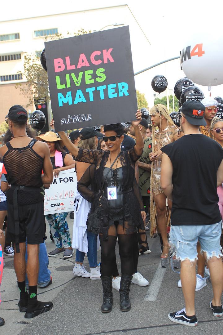 Amber Rose's mom, Dorothy Rose supports her daughter at Slutwalk in Los Angeles, CA.