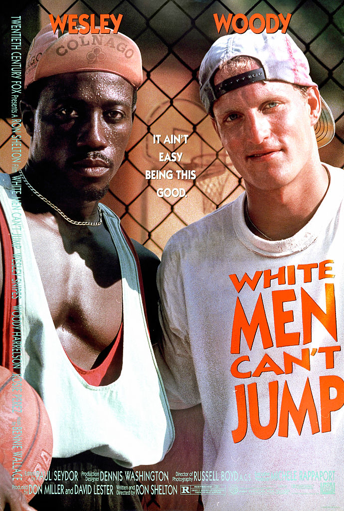 'White Men Can't Jump' (20th Century Fox), a basketball sports comedy starring Wesley Snipes, Woody Harrelson, Tyra Ferrell, and Rosie Perez, Los Angeles, California, 1992.