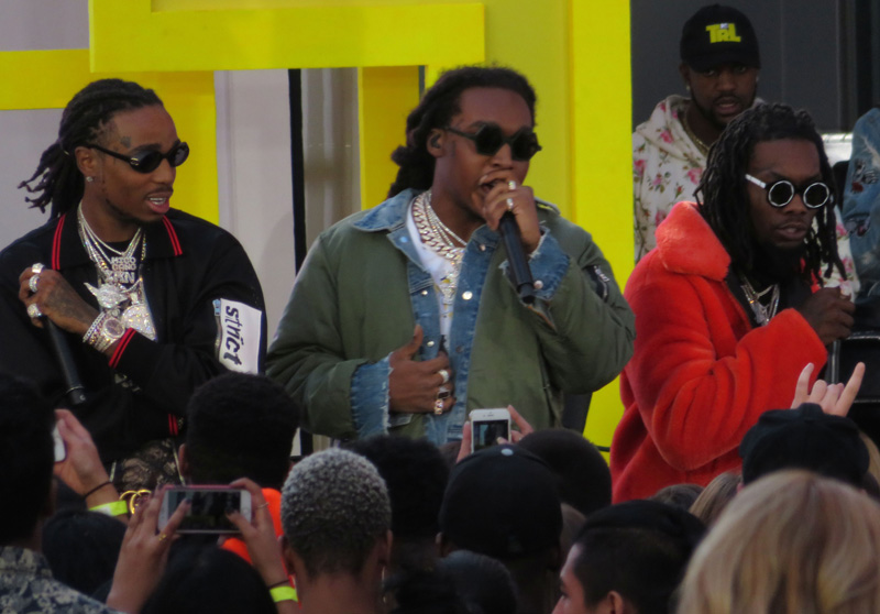 Migos MTV TRL kicks off Times Square Takeover show in New York City.