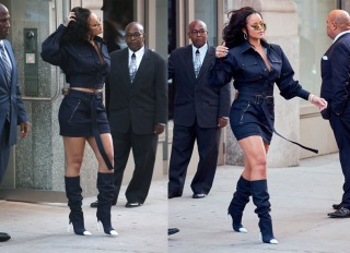 Singer Rihanna steps out wearing a blue Tom Ford outfit after visiting the gym earlier in the day in New York City, NY.