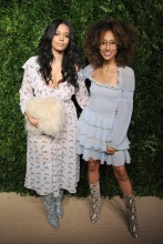 Aurora James Elaine Welteroth Arrivals for the Fourteenth Annual CFDA/VOGUE Fashion Fund Awards, held at the Weylin B. Seymour event space in Brooklyn, New York