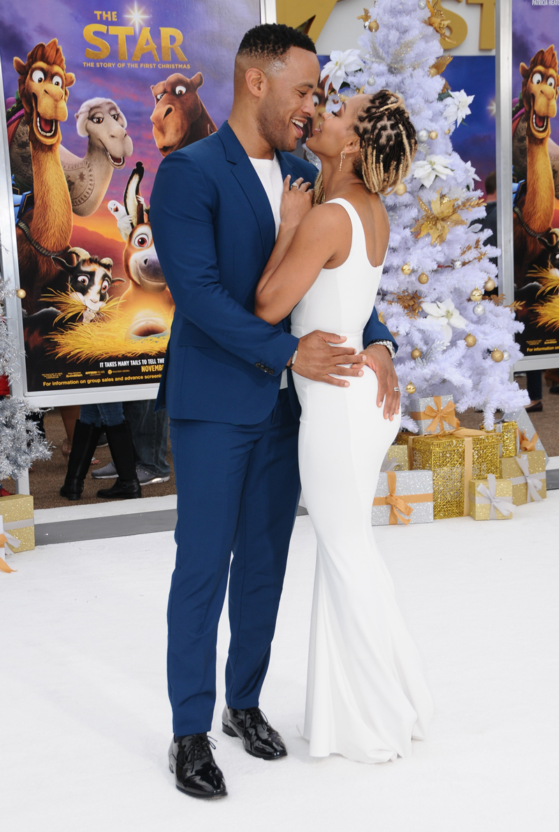 """Devon Franklin and Meagan Good at the LA Premiere of """"The Star"""" in Los Angeles."""