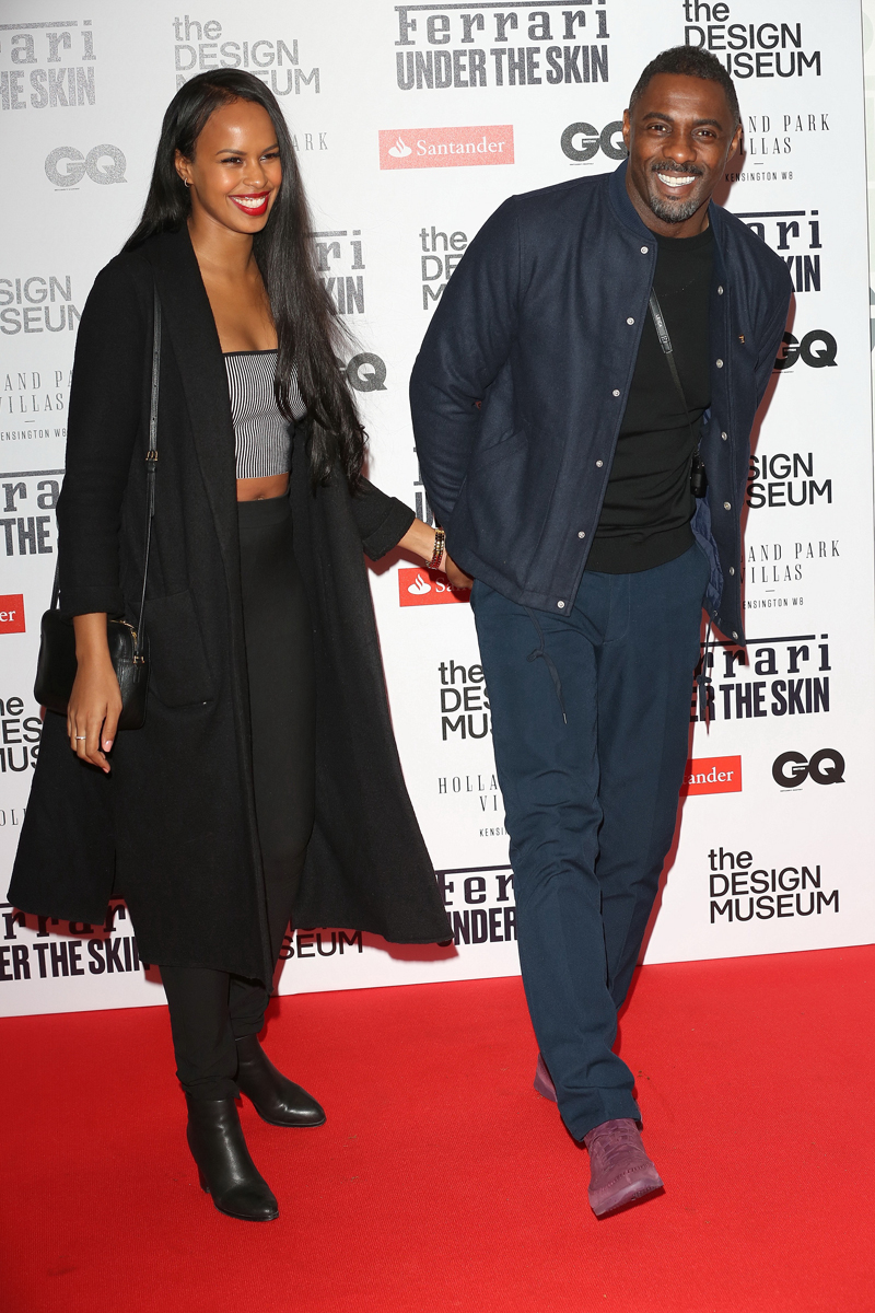 Idris Elba Sabrina Dhowre Celebrities attend 'Ferarri: Under The Skin' launch party at The Design Museum in London, UK.