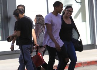 Jordin Sparks with her new husband goes shopping in Beverly Hills, CA.