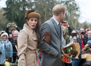 25.12.2017; Sandringham, England: MEGHAN MARKLE JOINS ROYALS FOR CHRISTMAS AT SANDRINGHAM Meghan Markle, Prince Harry's fiance accompanied him to the Christmas Service at St Mary's Magdalene on the Sandringham estate. Also present were the Duke and Duchess of Cambridge; Princess Beatrice, Princess Eugenie, the Wessexes and Peter Phillips and Family Members of the extended royal family were also in attendance.
